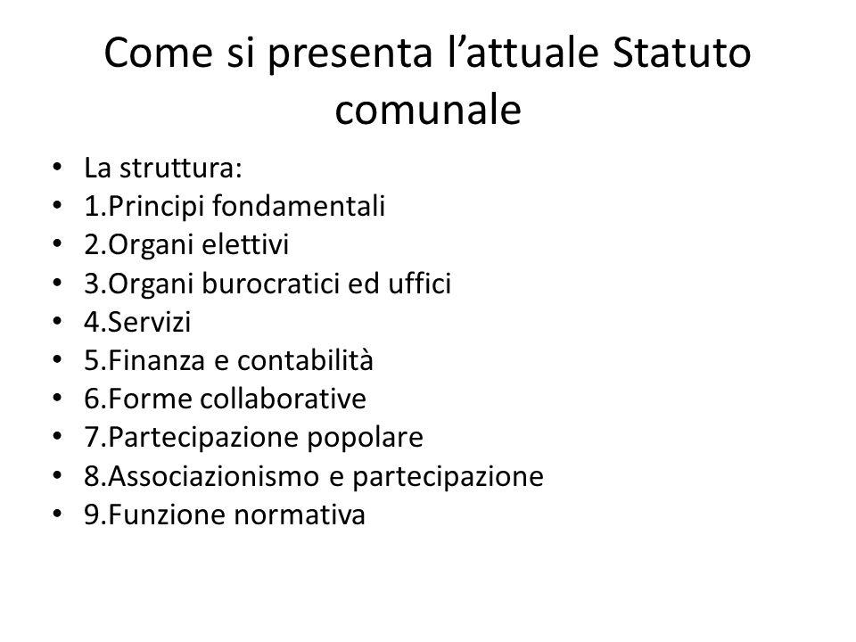 Come si presenta lattuale Statuto comunale La struttura: 1.Principi fondamentali 2.Organi elettivi 3.Organi burocratici ed uffici 4.Servizi 5.Finanza