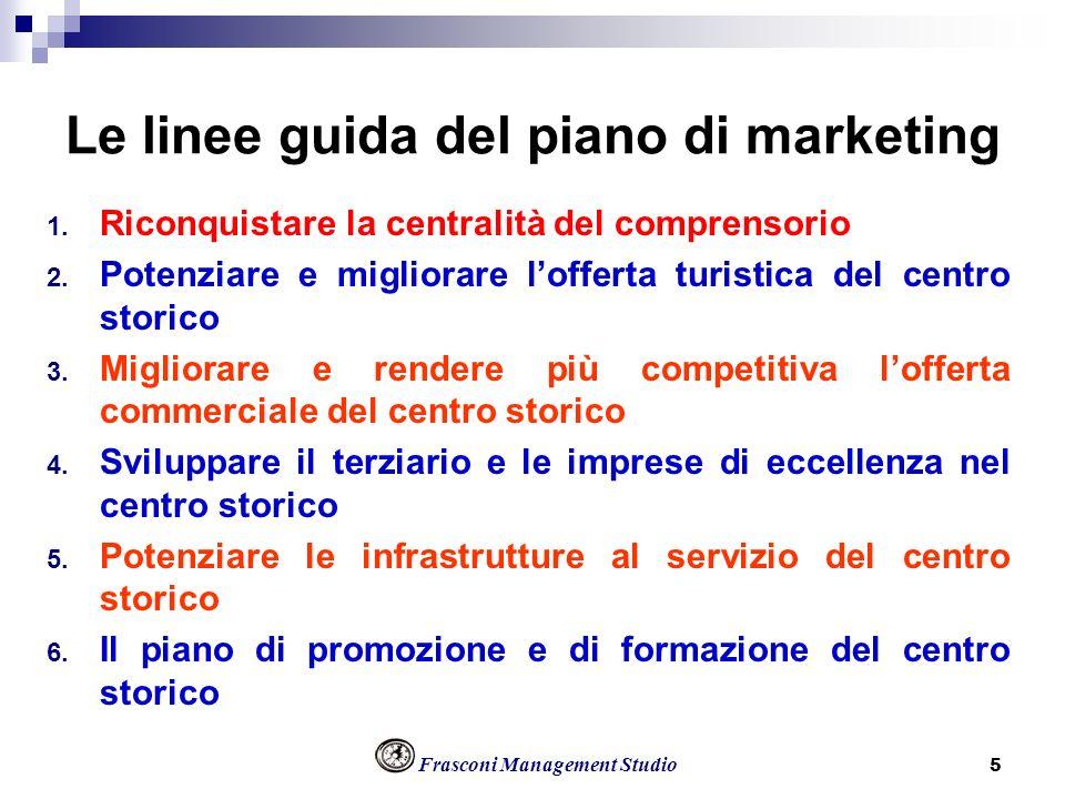 Frasconi Management Studio 5 Le linee guida del piano di marketing 1. Riconquistare la centralità del comprensorio 2. Potenziare e migliorare lofferta