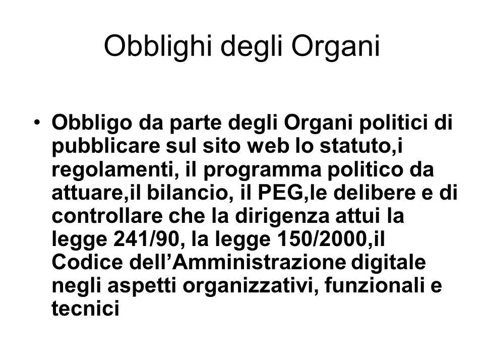 Obblighi degli Organi Obbligo da parte degli Organi politici di pubblicare sul sito web lo statuto,i regolamenti, il programma politico da attuare,il
