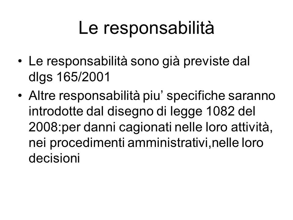 Le responsabilità Le responsabilità sono già previste dal dlgs 165/2001 Altre responsabilità piu specifiche saranno introdotte dal disegno di legge 10