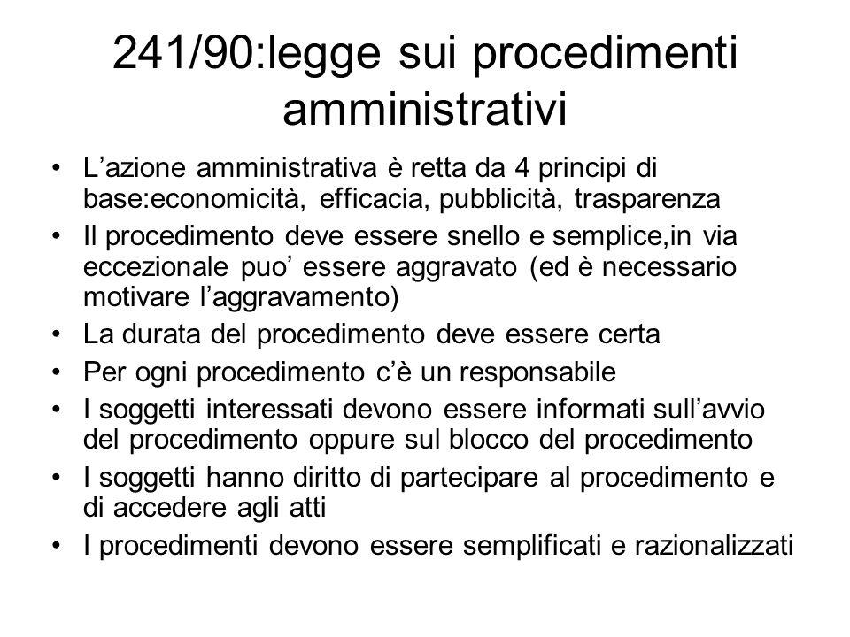 241/90:legge sui procedimenti amministrativi Lazione amministrativa è retta da 4 principi di base:economicità, efficacia, pubblicità, trasparenza Il p