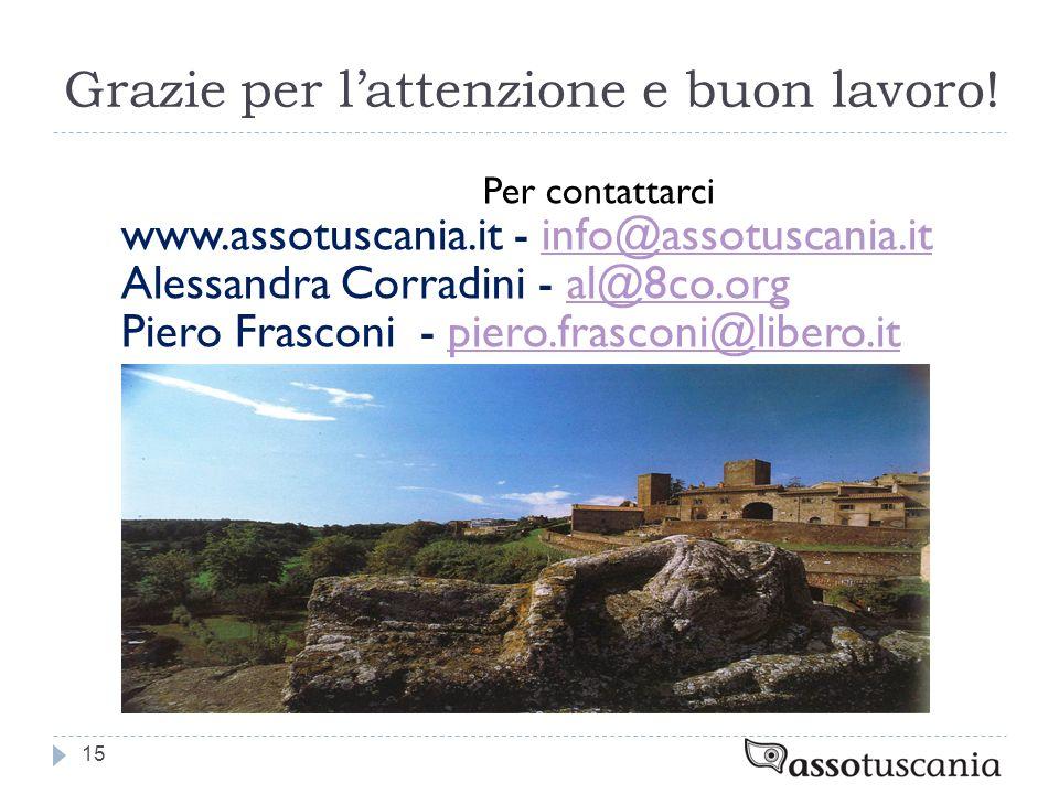Grazie per lattenzione e buon lavoro! Per contattarci www.assotuscania.it - info@assotuscania.itinfo@assotuscania.it Alessandra Corradini - al@8co.org