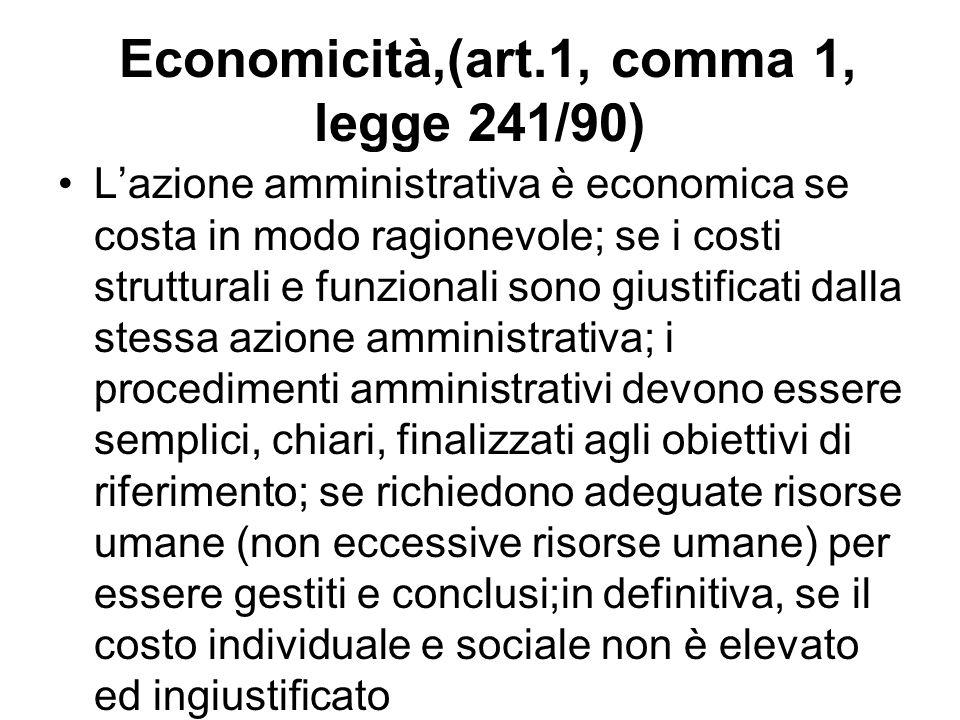Economicità,(art.1, comma 1, legge 241/90) Lazione amministrativa è economica se costa in modo ragionevole; se i costi strutturali e funzionali sono g