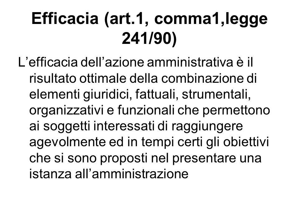 Efficacia (art.1, comma1,legge 241/90) Lefficacia dellazione amministrativa è il risultato ottimale della combinazione di elementi giuridici, fattuali