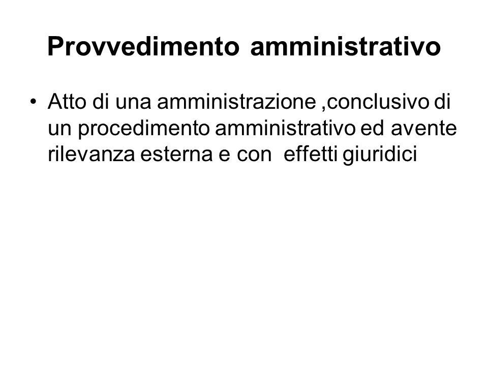 Provvedimento amministrativo Atto di una amministrazione,conclusivo di un procedimento amministrativo ed avente rilevanza esterna e con effetti giurid