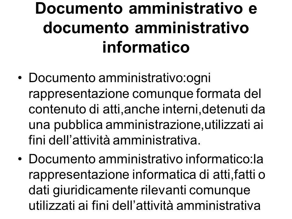 Documento amministrativo e documento amministrativo informatico Documento amministrativo:ogni rappresentazione comunque formata del contenuto di atti,