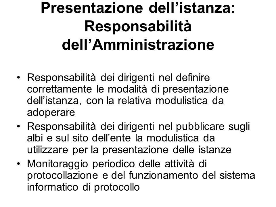 Presentazione dellistanza: Responsabilità dellAmministrazione Responsabilità dei dirigenti nel definire correttamente le modalità di presentazione del