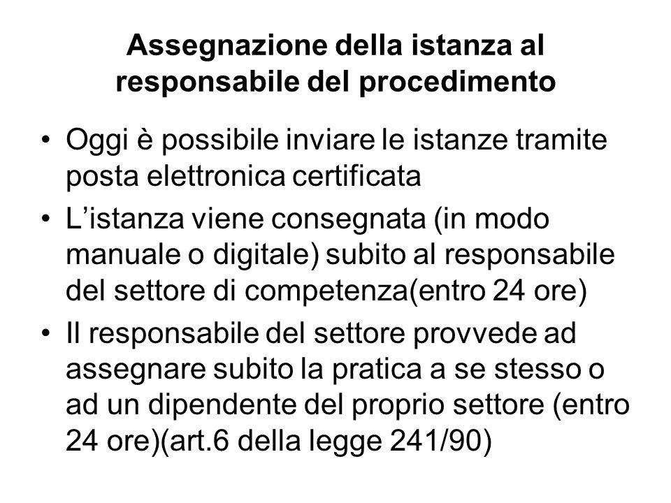 Assegnazione della istanza al responsabile del procedimento Oggi è possibile inviare le istanze tramite posta elettronica certificata Listanza viene c