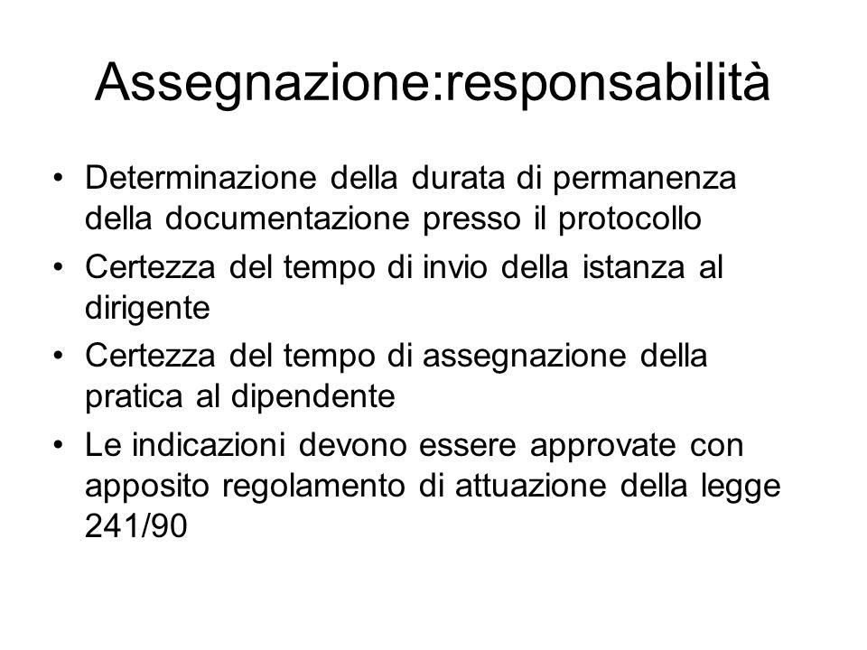 Assegnazione:responsabilità Determinazione della durata di permanenza della documentazione presso il protocollo Certezza del tempo di invio della ista