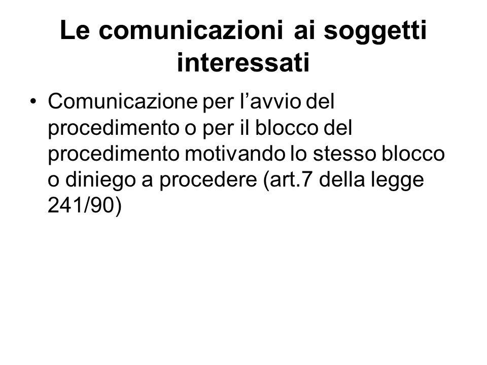 Le comunicazioni ai soggetti interessati Comunicazione per lavvio del procedimento o per il blocco del procedimento motivando lo stesso blocco o dinie