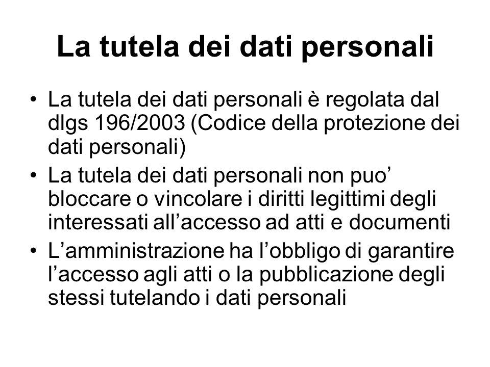 La tutela dei dati personali La tutela dei dati personali è regolata dal dlgs 196/2003 (Codice della protezione dei dati personali) La tutela dei dati