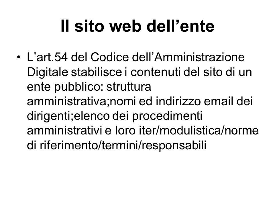 Il sito web dellente Lart.54 del Codice dellAmministrazione Digitale stabilisce i contenuti del sito di un ente pubblico: struttura amministrativa;nom
