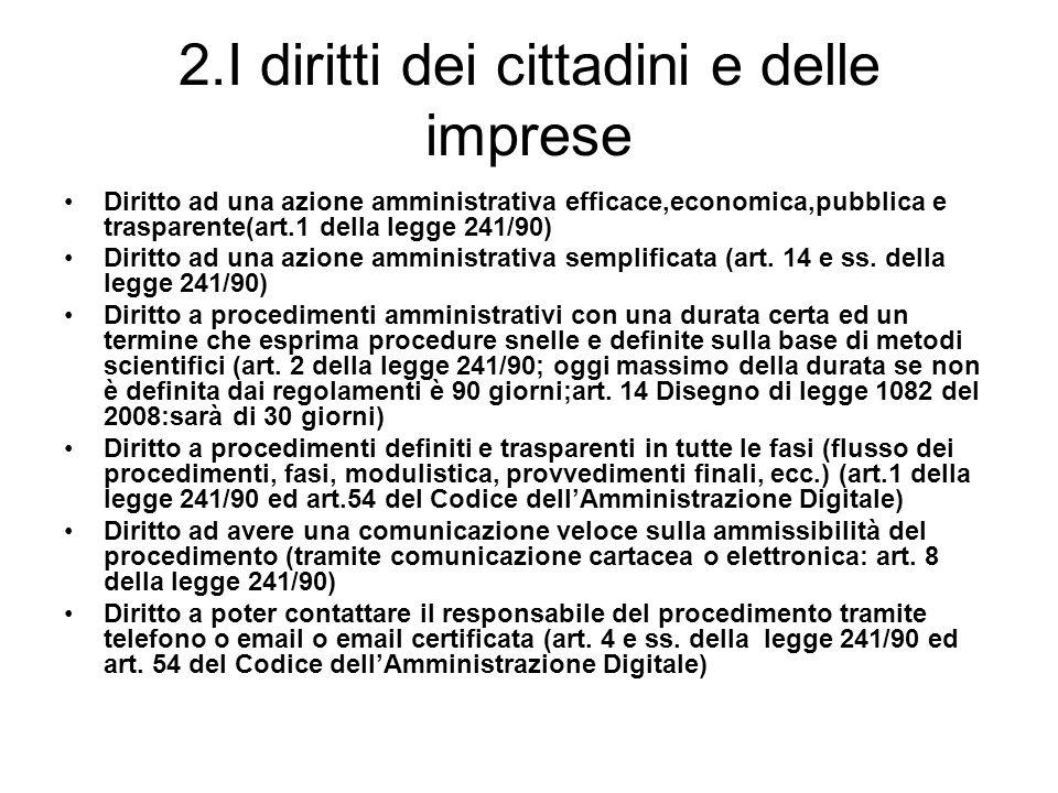 2.I diritti dei cittadini e delle imprese Diritto ad una azione amministrativa efficace,economica,pubblica e trasparente(art.1 della legge 241/90) Dir
