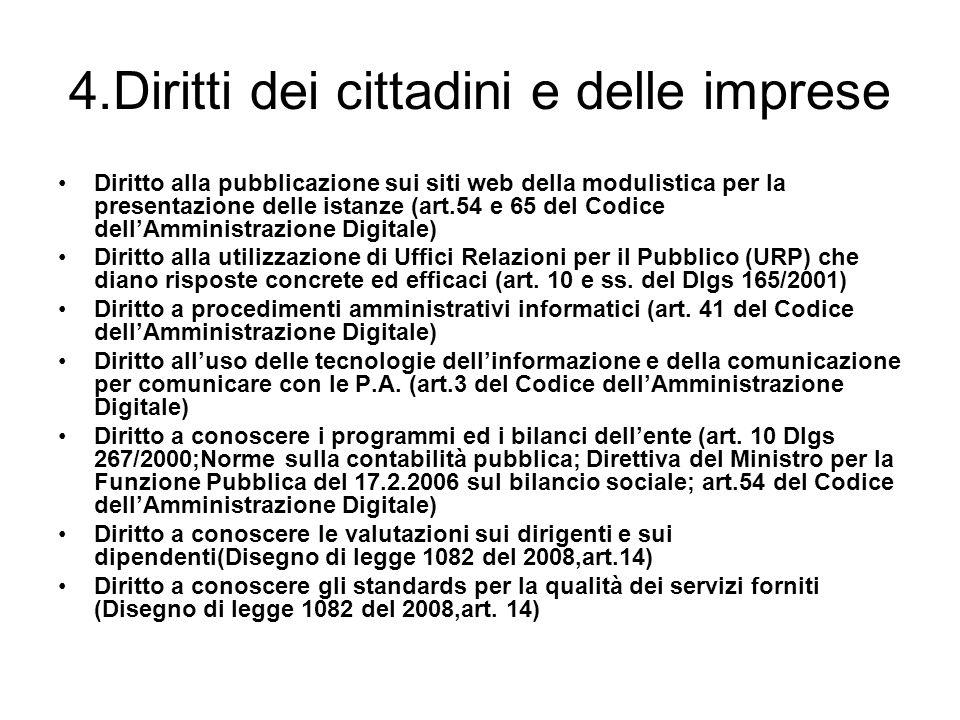 4.Diritti dei cittadini e delle imprese Diritto alla pubblicazione sui siti web della modulistica per la presentazione delle istanze (art.54 e 65 del