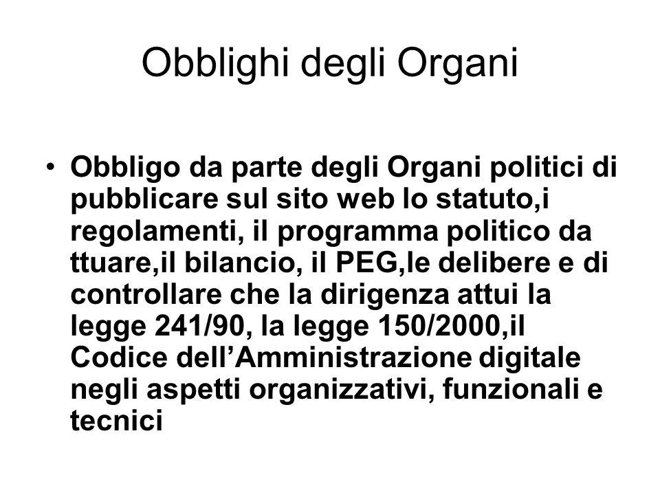 Obblighi degli Organi Obbligo da parte degli Organi politici di pubblicare sul sito web lo statuto,i regolamenti, il programma politico da ttuare,il b