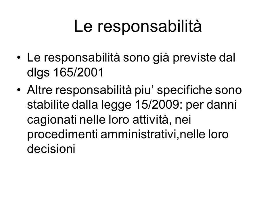Le responsabilità Le responsabilità sono già previste dal dlgs 165/2001 Altre responsabilità piu specifiche sono stabilite dalla legge 15/2009: per da