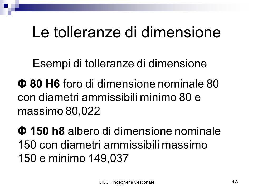 LIUC - Ingegneria Gestionale13 Le tolleranze di dimensione Esempi di tolleranze di dimensione Φ 80 H6 foro di dimensione nominale 80 con diametri ammi