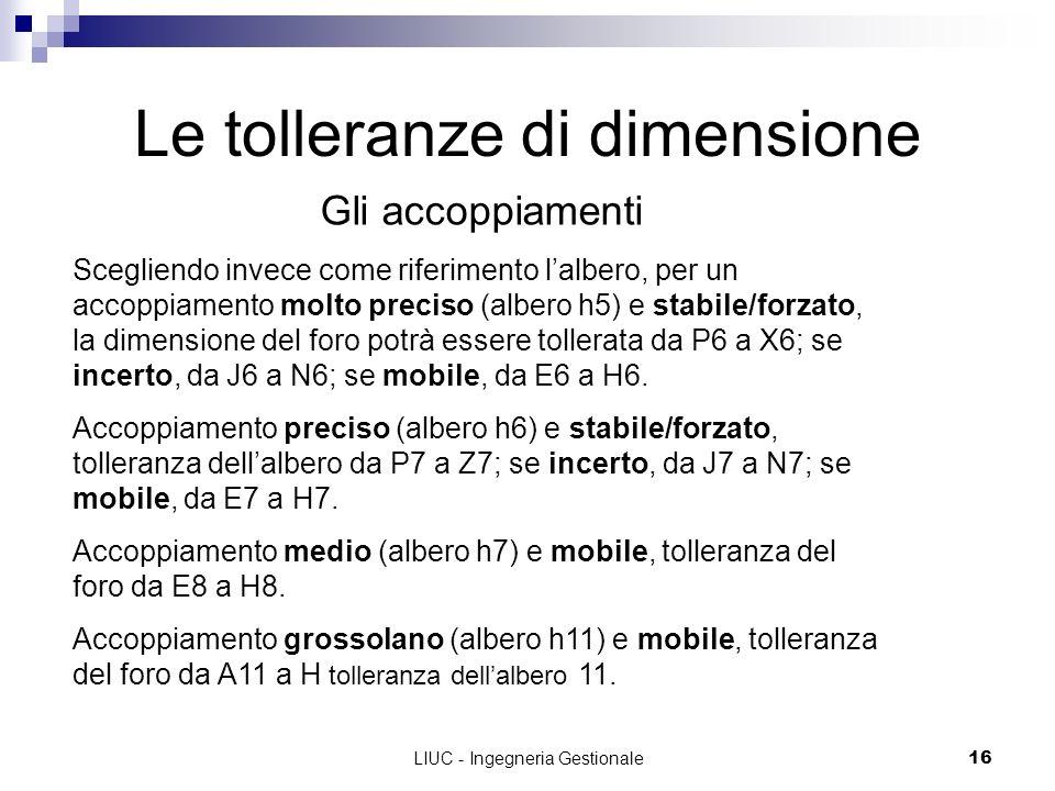 LIUC - Ingegneria Gestionale16 Le tolleranze di dimensione Gli accoppiamenti Scegliendo invece come riferimento lalbero, per un accoppiamento molto pr
