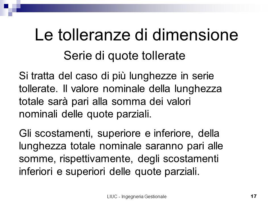 LIUC - Ingegneria Gestionale17 Le tolleranze di dimensione Serie di quote tollerate Si tratta del caso di più lunghezze in serie tollerate. Il valore