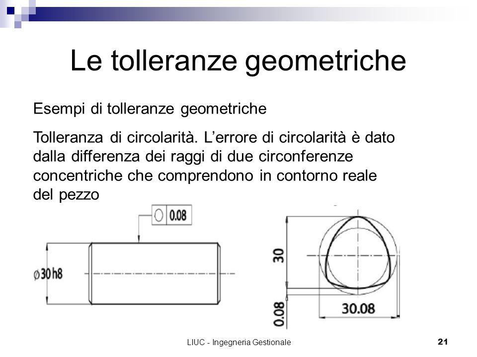 LIUC - Ingegneria Gestionale21 Le tolleranze geometriche Esempi di tolleranze geometriche Tolleranza di circolarità. Lerrore di circolarità è dato dal