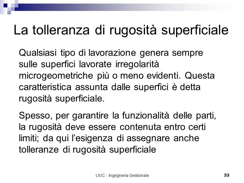 LIUC - Ingegneria Gestionale33 La tolleranza di rugosità superficiale Qualsiasi tipo di lavorazione genera sempre sulle superfici lavorate irregolarit