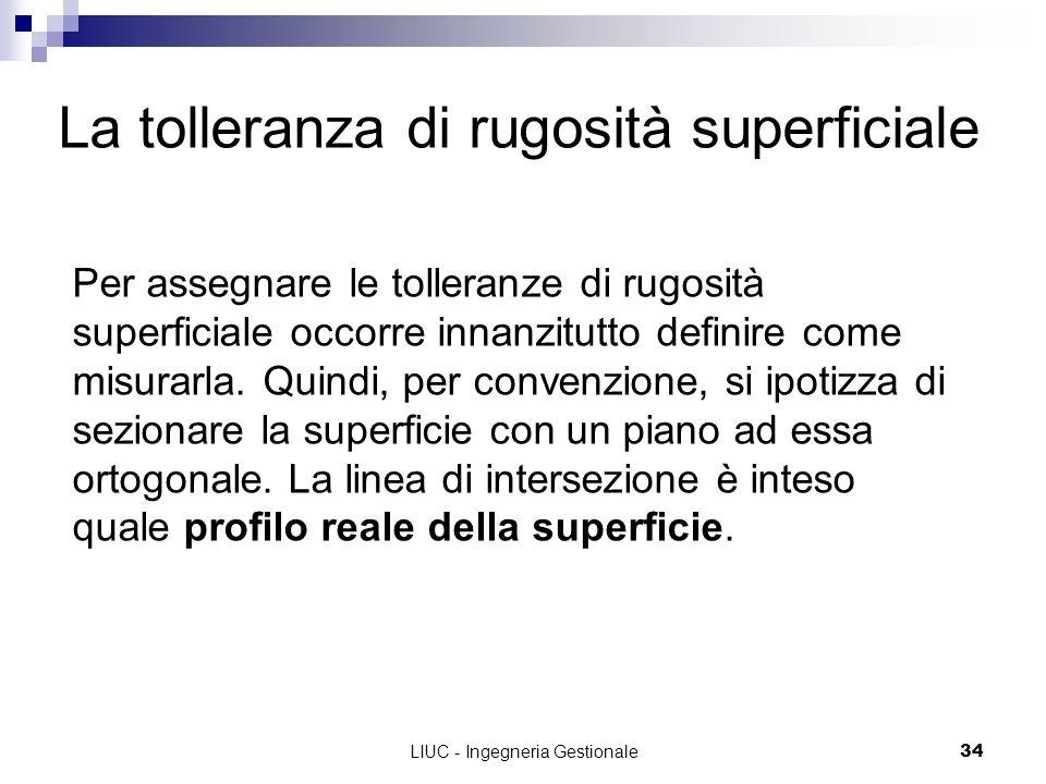 LIUC - Ingegneria Gestionale34 La tolleranza di rugosità superficiale Per assegnare le tolleranze di rugosità superficiale occorre innanzitutto defini