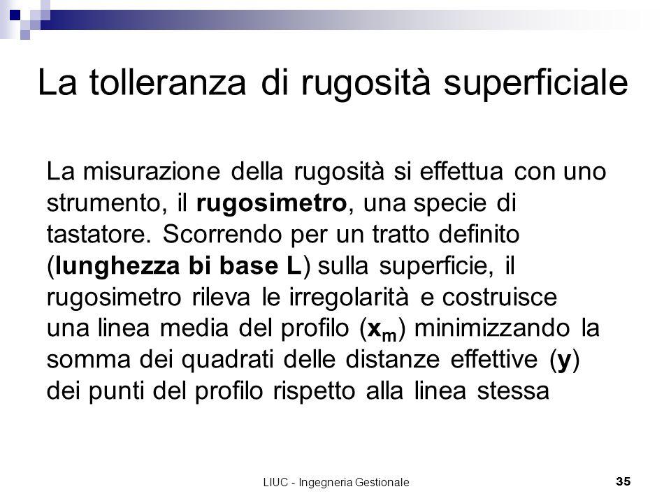 LIUC - Ingegneria Gestionale35 La tolleranza di rugosità superficiale La misurazione della rugosità si effettua con uno strumento, il rugosimetro, una