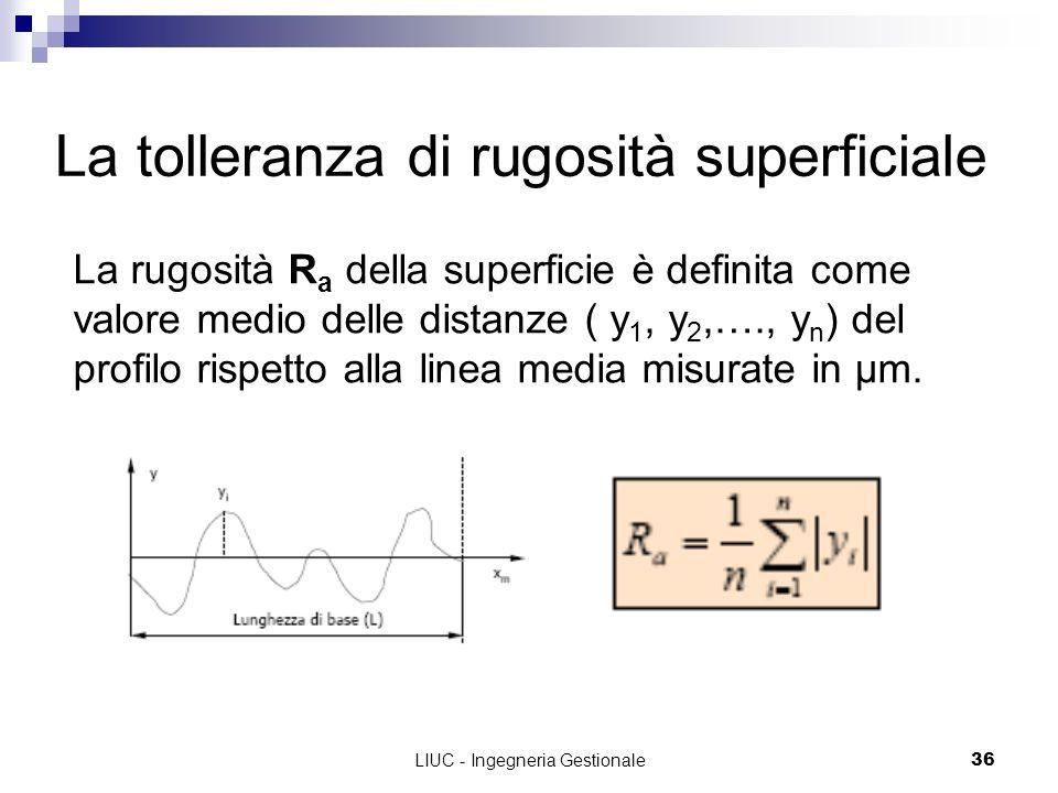 LIUC - Ingegneria Gestionale36 La tolleranza di rugosità superficiale La rugosità R a della superficie è definita come valore medio delle distanze ( y
