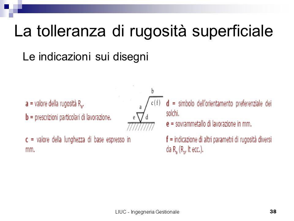 LIUC - Ingegneria Gestionale38 La tolleranza di rugosità superficiale Le indicazioni sui disegni