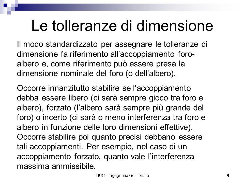 LIUC - Ingegneria Gestionale4 Le tolleranze di dimensione Il modo standardizzato per assegnare le tolleranze di dimensione fa riferimento allaccoppiam