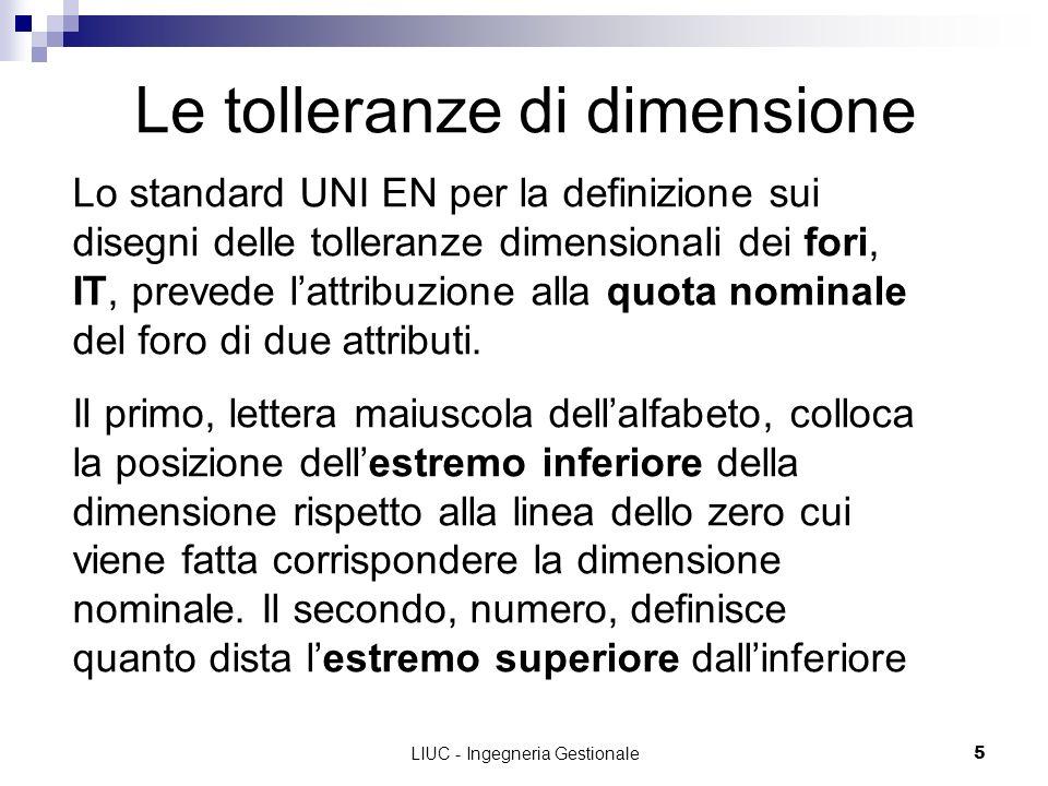 LIUC - Ingegneria Gestionale5 Le tolleranze di dimensione Lo standard UNI EN per la definizione sui disegni delle tolleranze dimensionali dei fori, IT