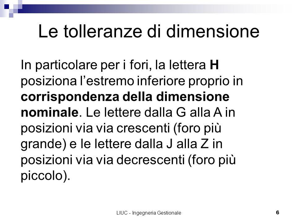 LIUC - Ingegneria Gestionale6 Le tolleranze di dimensione In particolare per i fori, la lettera H posiziona lestremo inferiore proprio in corrisponden