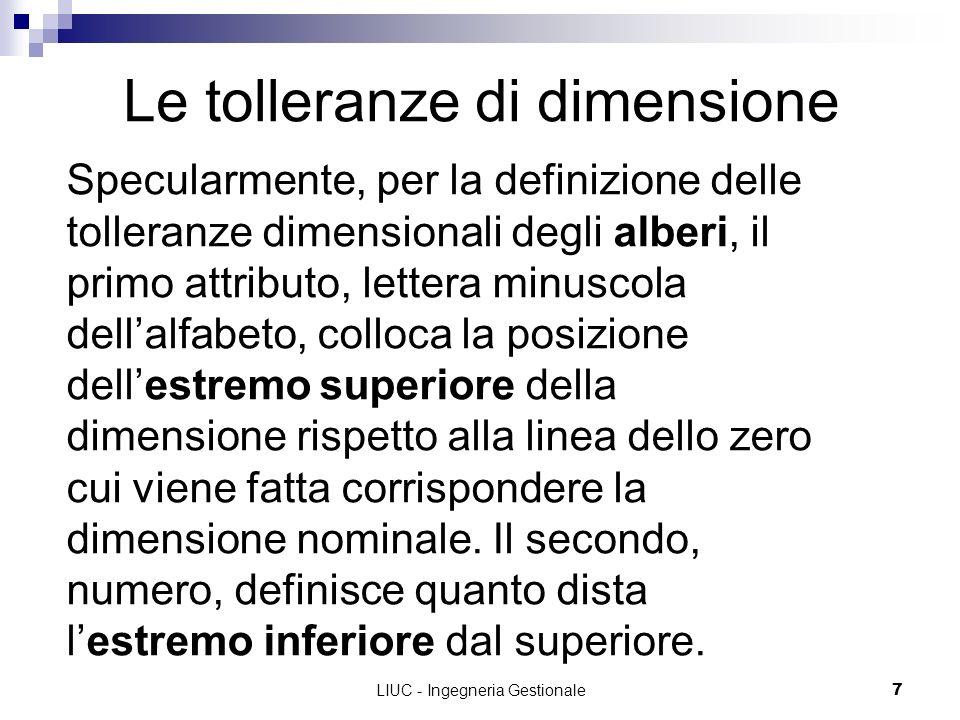 LIUC - Ingegneria Gestionale7 Le tolleranze di dimensione Specularmente, per la definizione delle tolleranze dimensionali degli alberi, il primo attri