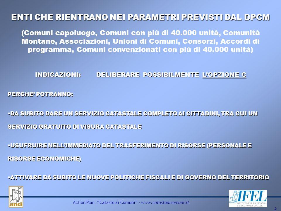 2 Action Plan Catasto ai Comuni - www.catastoaicomuni.it INDICAZIONI: DELIBERARE POSSIBILMENTE LOPZIONE C ENTI CHE RIENTRANO NEI PARAMETRI PREVISTI DA