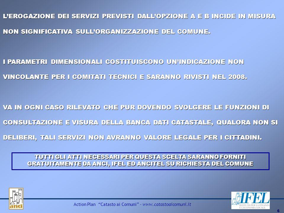 6 Action Plan Catasto ai Comuni - www.catastoaicomuni.it LEROGAZIONE DEI SERVIZI PREVISTI DALLOPZIONE A E B INCIDE IN MISURA NON SIGNIFICATIVA SULLORG