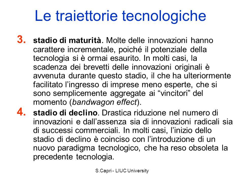 S.Capri - LIUC University Le traiettorie tecnologiche 3. stadio di maturità. Molte delle innovazioni hanno carattere incrementale, poiché il potenzial