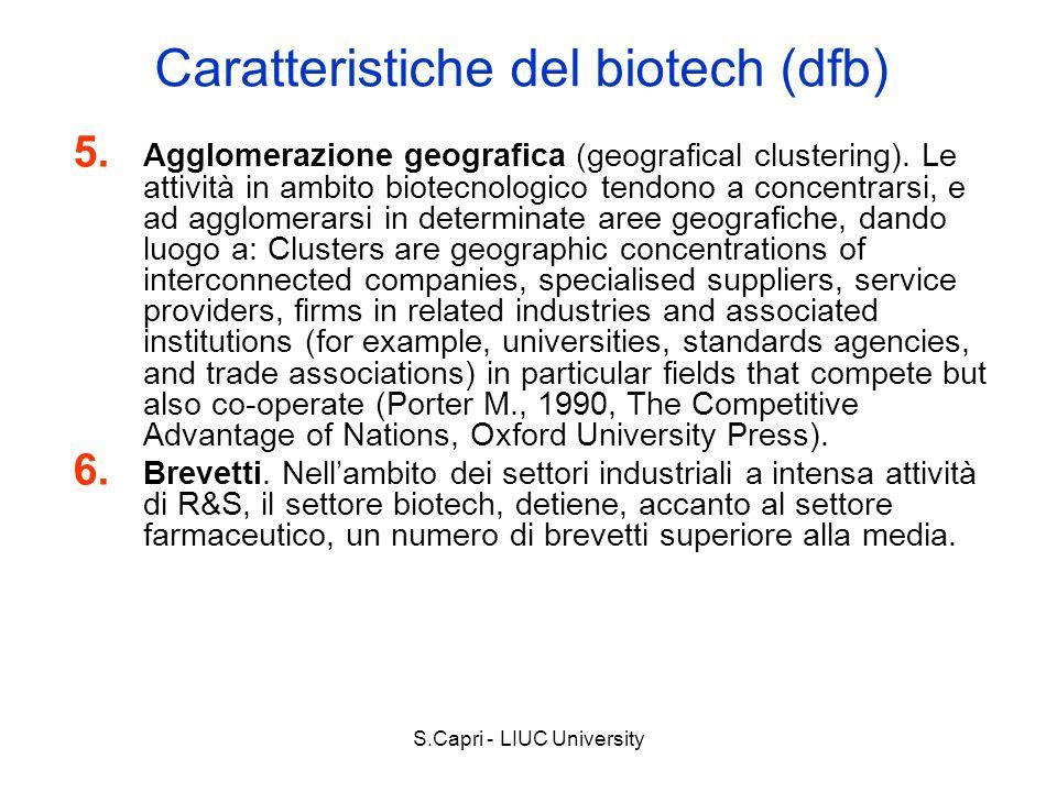 S.Capri - LIUC University Caratteristiche del biotech (dfb) 5. Agglomerazione geografica (geografical clustering). Le attività in ambito biotecnologic