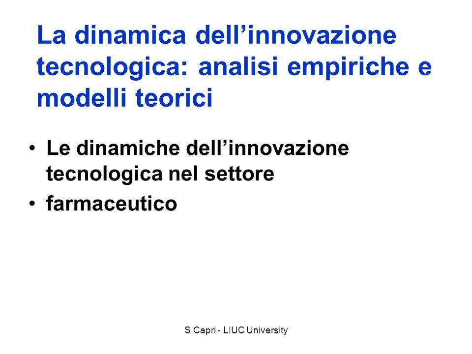 La dinamica dellinnovazione tecnologica: analisi empiriche e modelli teorici Le dinamiche dellinnovazione tecnologica nel settore farmaceutico