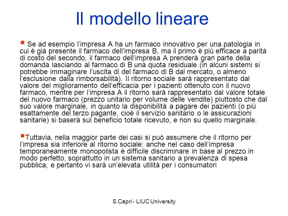 S.Capri - LIUC University Il modello lineare Se ad esempio limpresa A ha un farmaco innovativo per una patologia in cui è già presente il farmaco dell