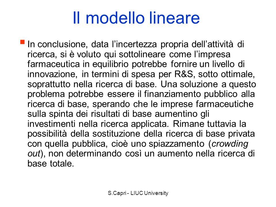 S.Capri - LIUC University Il modello lineare In conclusione, data lincertezza propria dellattività di ricerca, si è voluto qui sottolineare come limpr
