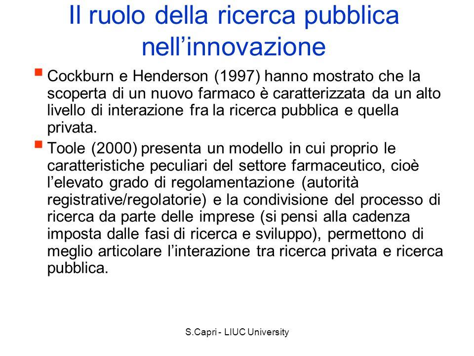 S.Capri - LIUC University Il ruolo della ricerca pubblica nellinnovazione Cockburn e Henderson (1997) hanno mostrato che la scoperta di un nuovo farma