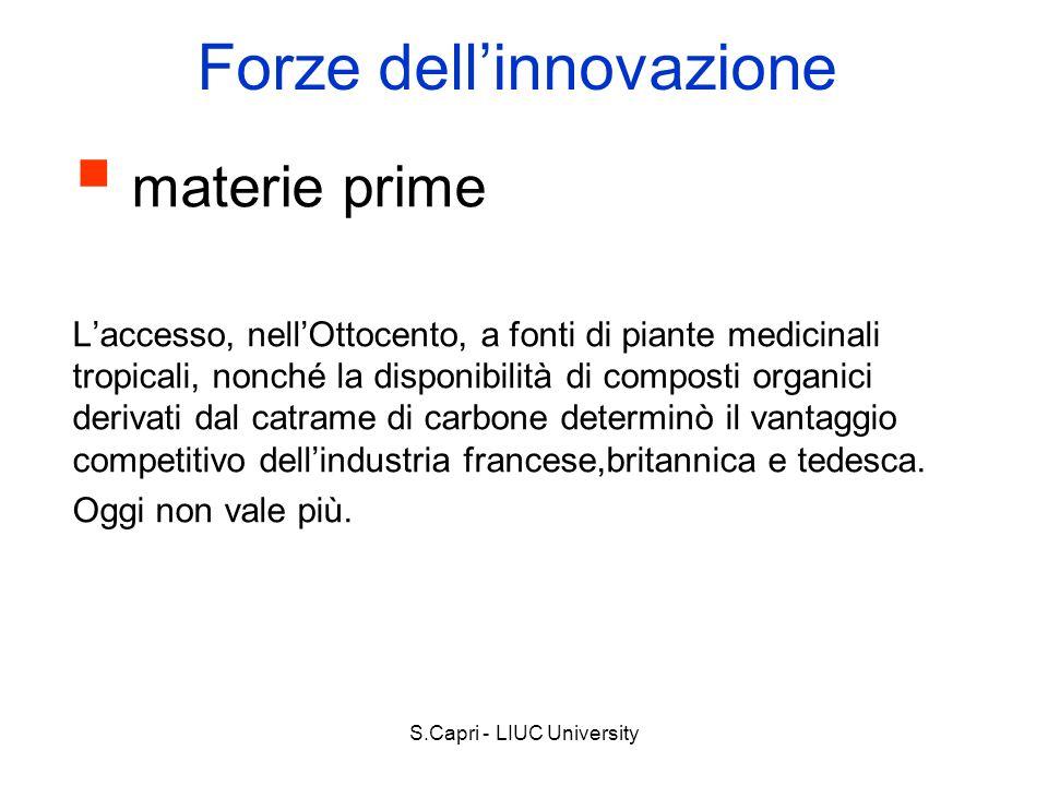 S.Capri - LIUC University Forze dellinnovazione materie prime Laccesso, nellOttocento, a fonti di piante medicinali tropicali, nonché la disponibilità