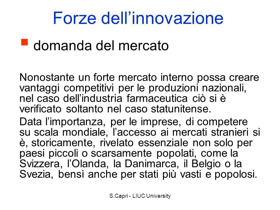S.Capri - LIUC University Forze dellinnovazione domanda del mercato Nonostante un forte mercato interno possa creare vantaggi competitivi per le produ