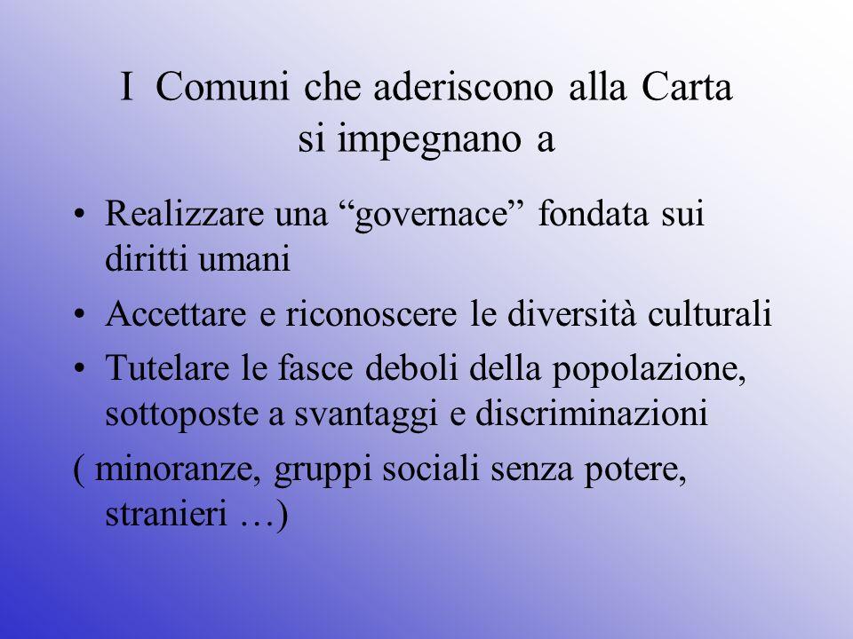 I Comuni che aderiscono alla Carta si impegnano a Realizzare una governace fondata sui diritti umani Accettare e riconoscere le diversità culturali Tu
