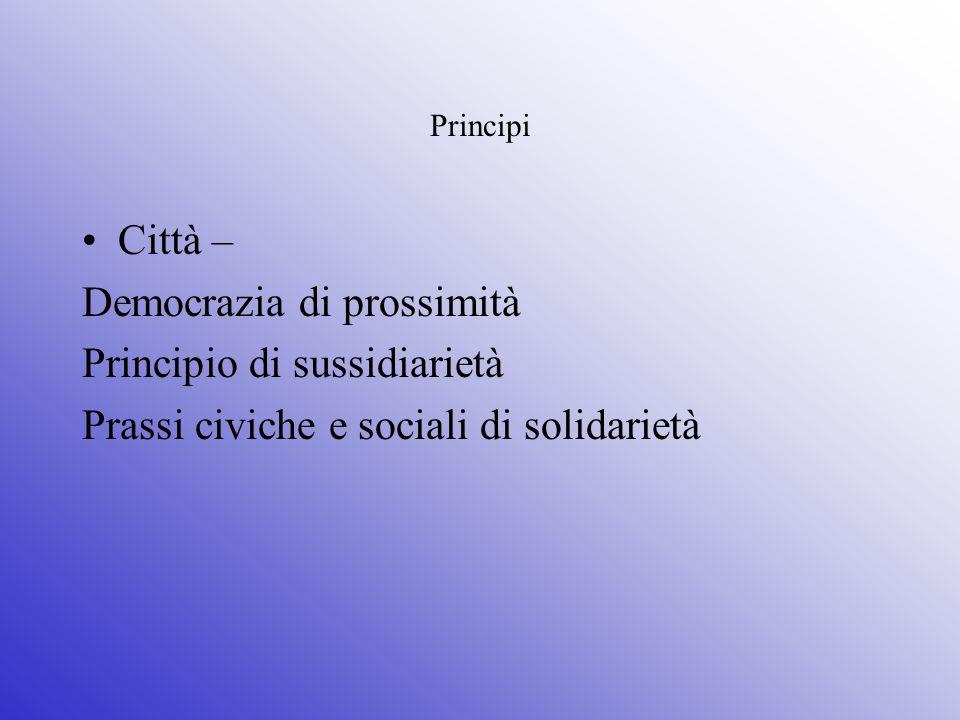 Principi Città – Democrazia di prossimità Principio di sussidiarietà Prassi civiche e sociali di solidarietà