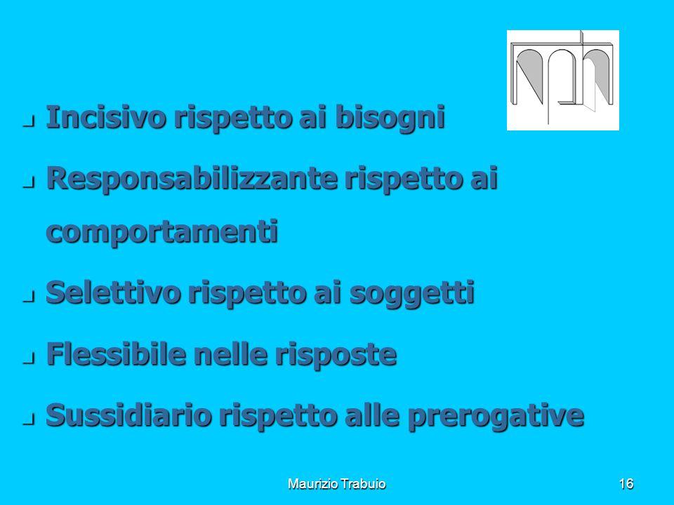Maurizio Trabuio16 Incisivo rispetto ai bisogni Incisivo rispetto ai bisogni Responsabilizzante rispetto ai comportamenti Responsabilizzante rispetto