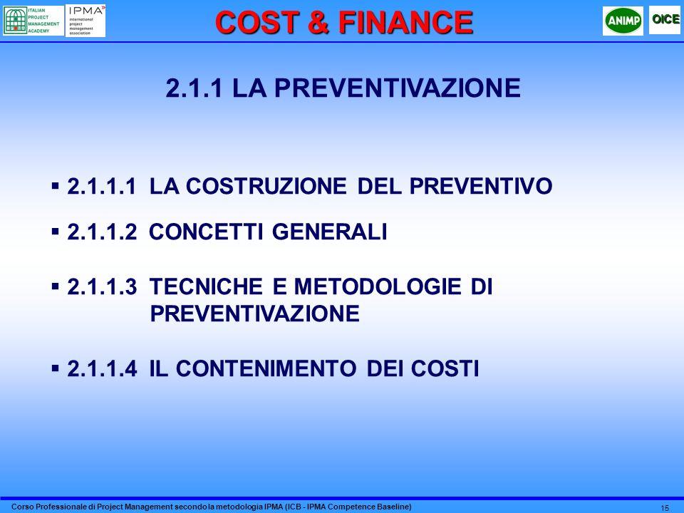 Corso Professionale di Project Management secondo la metodologia IPMA (ICB - IPMA Competence Baseline) OICE 15 2.1.1 LA PREVENTIVAZIONE 2.1.1.1 LA COSTRUZIONE DEL PREVENTIVO 2.1.1.2 CONCETTI GENERALI 2.1.1.3 TECNICHE E METODOLOGIE DI PREVENTIVAZIONE 2.1.1.4 IL CONTENIMENTO DEI COSTI COST & FINANCE
