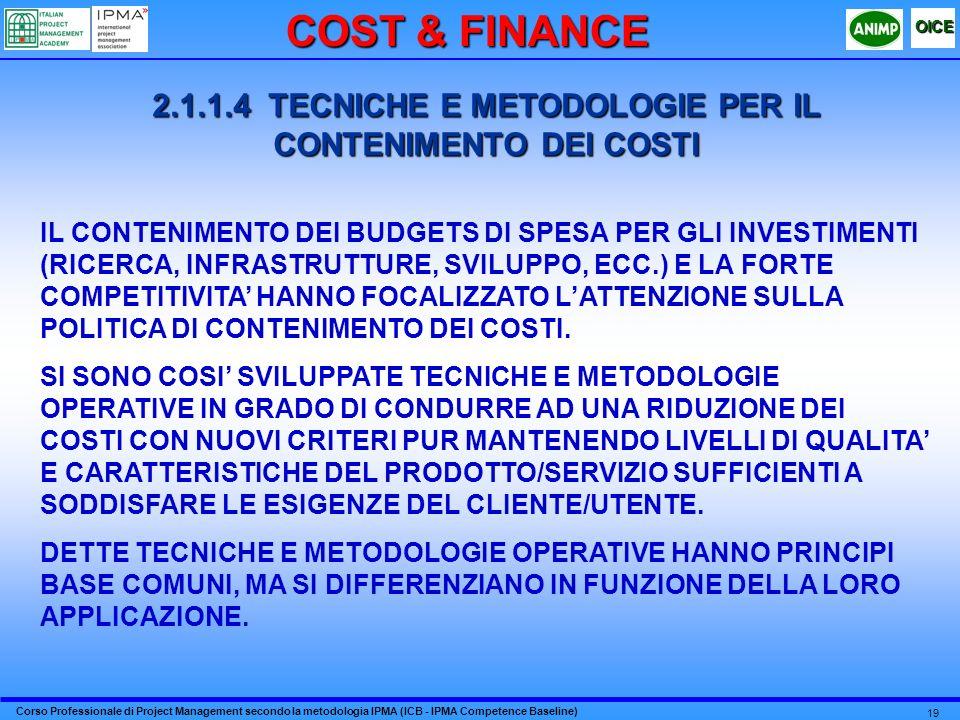Corso Professionale di Project Management secondo la metodologia IPMA (ICB - IPMA Competence Baseline) OICE 19 2.1.1.4 TECNICHE E METODOLOGIE PER IL CONTENIMENTO DEI COSTI IL CONTENIMENTO DEI BUDGETS DI SPESA PER GLI INVESTIMENTI (RICERCA, INFRASTRUTTURE, SVILUPPO, ECC.) E LA FORTE COMPETITIVITA HANNO FOCALIZZATO LATTENZIONE SULLA POLITICA DI CONTENIMENTO DEI COSTI.