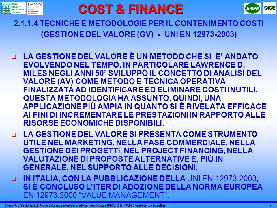 Corso Professionale di Project Management secondo la metodologia IPMA (ICB - IPMA Competence Baseline) OICE 23 2.1.1.4 TECNICHE E METODOLOGIE PER IL CONTENIMENTO COSTI (GESTIONE DEL VALORE (GV) - UNI EN 12973-2003) LA GESTIONE DEL VALORE È UN METODO CHE SI E ANDATO EVOLVENDO NEL TEMPO.