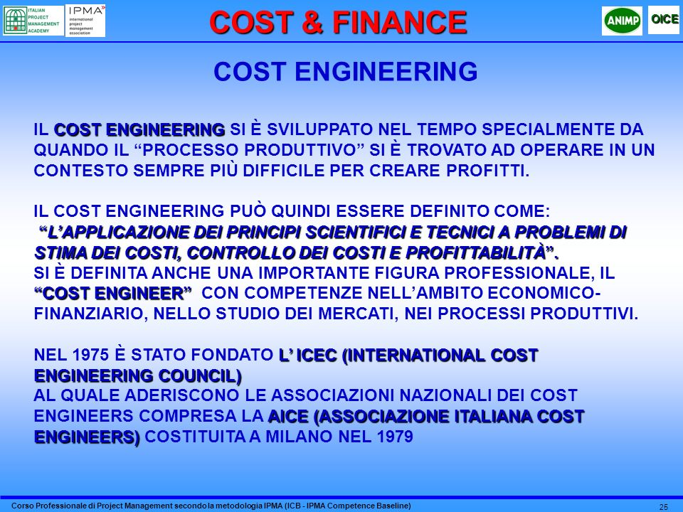 Corso Professionale di Project Management secondo la metodologia IPMA (ICB - IPMA Competence Baseline) OICE 25 COST ENGINEERING COST ENGINEERING IL CO